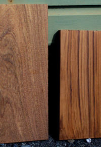 Fresh sawn Afromosia (left) and Teak (right)