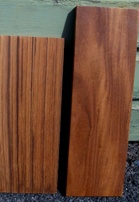 Teak (left) and Afromosia on the right with one coat lacquer