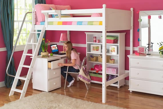 Maxtrix high loft study bed for girls