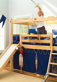 Maxtrix castle bed with slide for boys