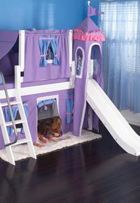 Maxtrix girls' princess loft bed with slide