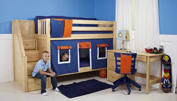 Boys' staircase bunkbed by Maxtrix