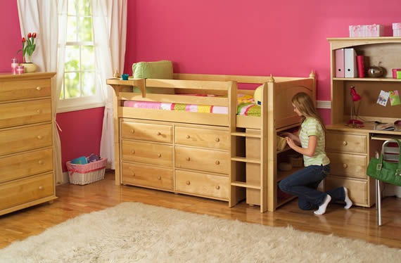 Storage loft bed by Maxtrix with underbed dressers and bookshelf