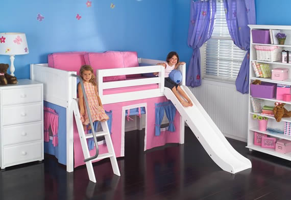 Maxtrix low loft bed with playhouse and slide