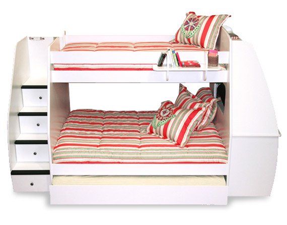 berg sierra space savers twin bed over full bed with desk and stairs