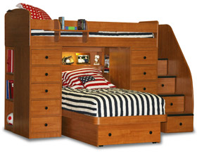 berg sierra space savers twin over twin platform bed two chests