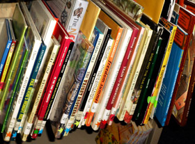 childrens library books on shelf
