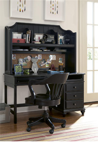 smartstuff black and white collection desk with hutch