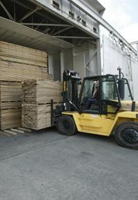 Forklift loading a kiln