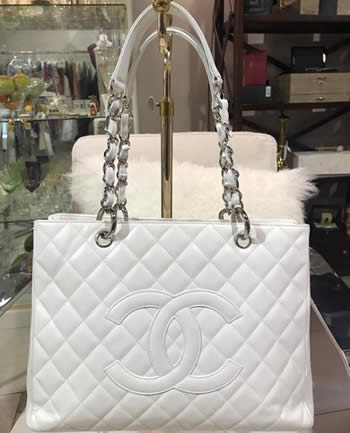 Chanel White Caviar Grand Shopper