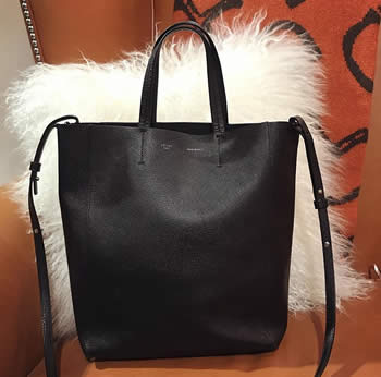 celine small canvas tote in black with strap