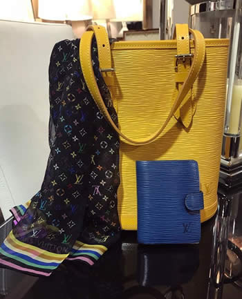 Louis Vuitton Yellow Epi Bucket Bag, Multi Color Sheer Scarf, and Blu Epi CC holder