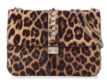 valentino large leopard print calf hair rockstud flap bag