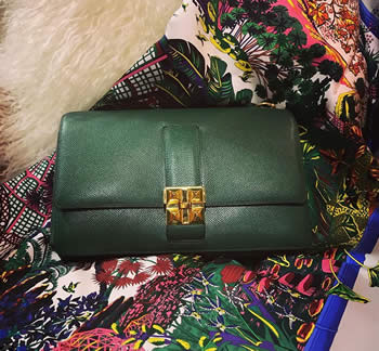 vintage hermes cdc green clutch bag with gold hardware