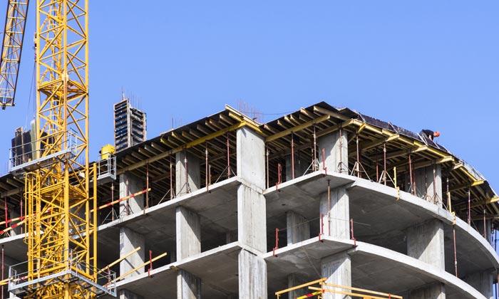 concrete construction of multi floor building