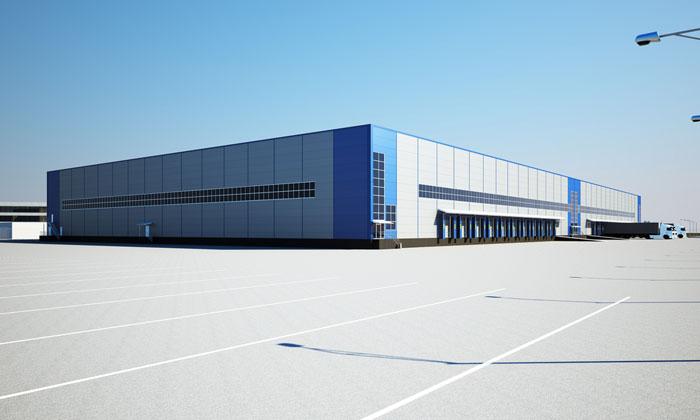 concrete parking lot by factory