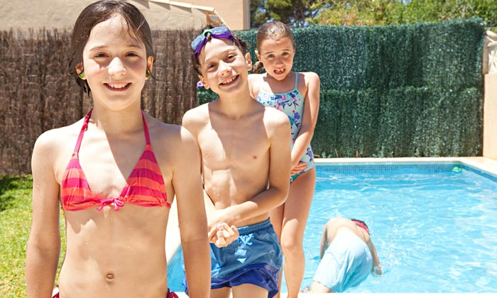 children back falling into swimming pool